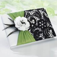 Green & Black Guest Book-Guest Books-Here Comes The Bling™