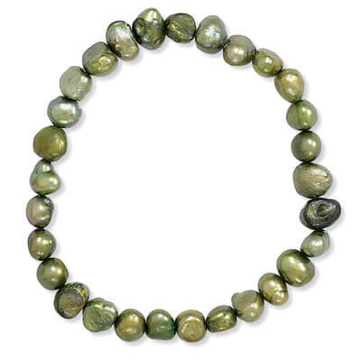 Green Cultured Freshwater Pearl Stretch Bracelet-Bracelets-Here Comes The Bling™