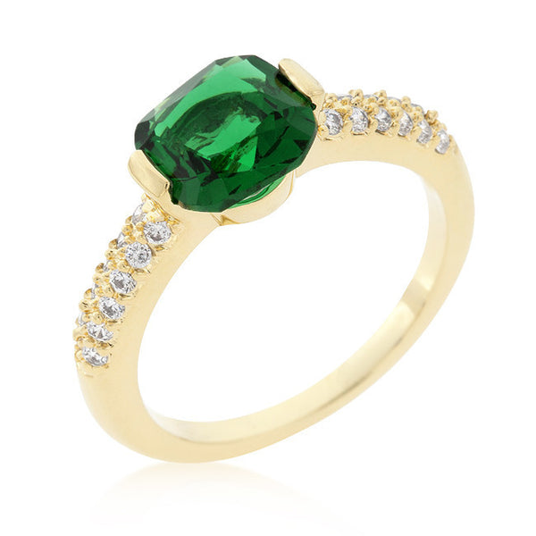 Green Cushion Cut Cubic Zirconia Engagement Ring-Rings-Here Comes The Bling™