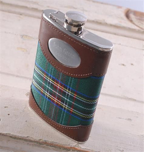 Green Plaid -Personalized 8oz Flask-Flask-Here Comes The Bling™