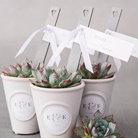 Grey Wooden Stakes with Open Heart Silver (Pack of 10)-Favors-Tags-Here Comes The Bling™