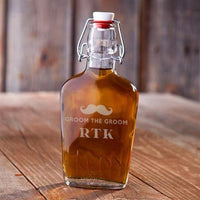 """Groom The Groom"" Engraved Vintage Glass Flask-Barware-Here Comes The Bling™"