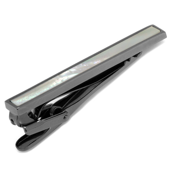 Gunmetal and Mother of Pearl Inlaid Tie Clip-Tie Bar/Tie Clip-Here Comes The Bling™
