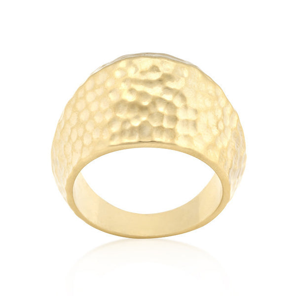 Hammered Golden Fashion Ring-Rings-Here Comes The Bling™