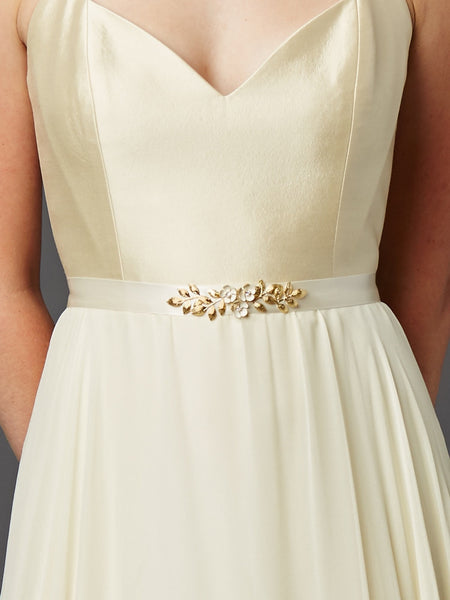 Hand Enameled Tea Rose Designer Bridal Sash Belt in Ivory Gold-Sash-Here Comes The Bling™