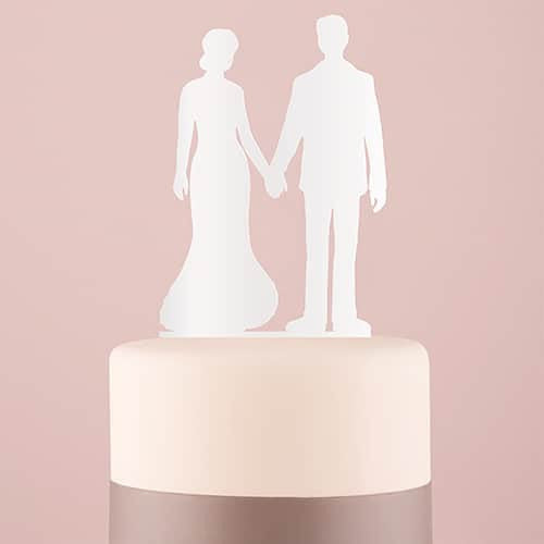 """Hand in Hand"" Silhouette Acrylic Cake Topper ( Available in Black or White)-Cake Toppers-Here Comes The Bling™"