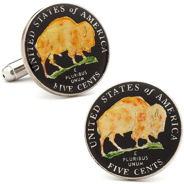 Hand Painted American Buffalo Nickel Coin Cufflinks-Cufflinks-Here Comes The Bling™