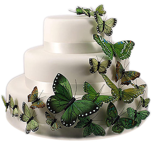 Hand Painted Butterfly Cake Decor Set (in green, blue or natural)