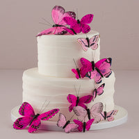 Hand Painted Butterfly Cake Decor Set in Glamour Pinks-Cake Toppers-Here Comes The Bling™