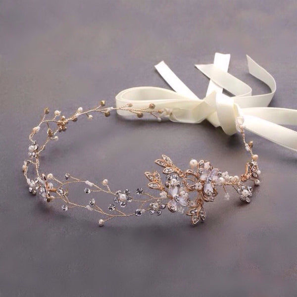 Handmade Bridal Headband with Painted Gold Vines-Headband-Here Comes The Bling™