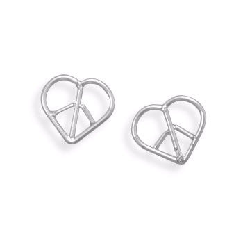 Heart Peace Sign Earrings-Girls-Jewelry-Here Comes The Bling™