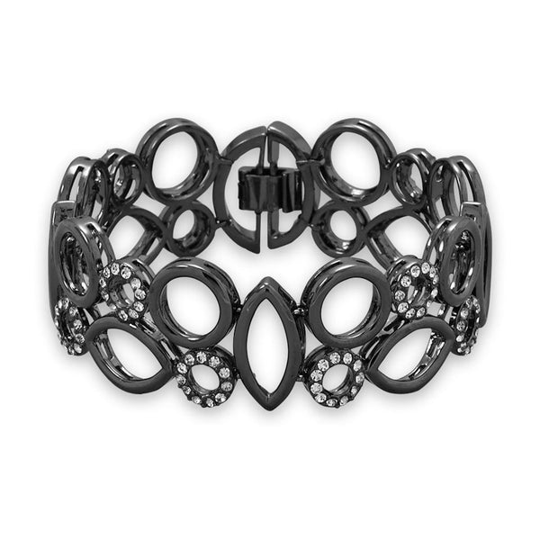 Hematite CZ Geometric Cuff Bracelet with-Bracelets-Here Comes The Bling™