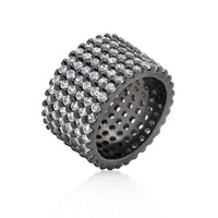 Hematite Wide Pave Cubic Zirconia Ring-Rings-Here Comes The Bling™