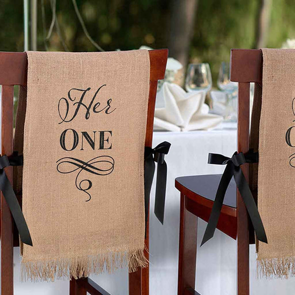"""Her One, His Only"" Burlap Chair Covers-Decor-Chairs-Here Comes The Bling™"