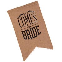 """Here Comes The Bride"" Burlap Sign-Decor-Aisle-Here Comes The Bling™"