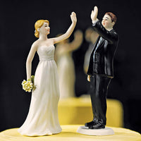 """High Five"" Bride and Groom Wedding Cake Toppers-Cake Toppers-Here Comes The Bling™"