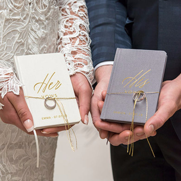"""His & Her Vows"" Gold Embossed Linen Journal-Journals-Here Comes The Bling™"