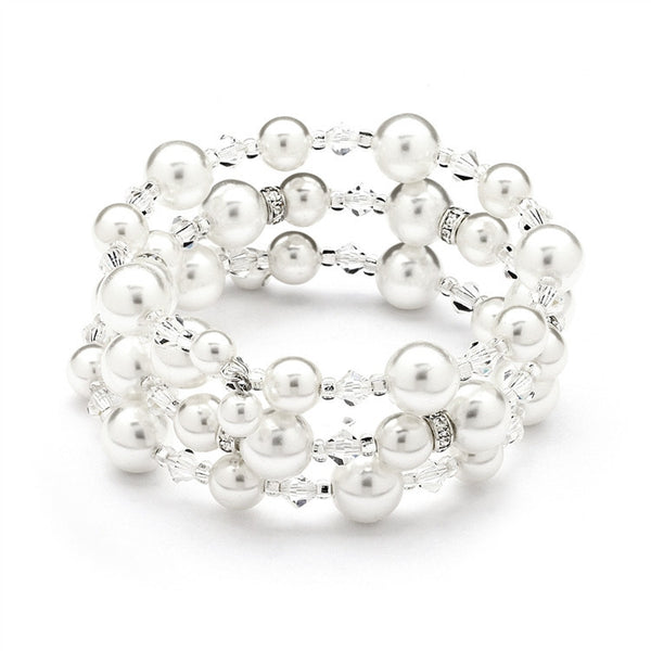 Hollywood Glam Coiled Pearl and Crystal Bracelet-Bracelets-Here Comes The Bling™