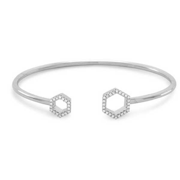 Honeycomb CZ Silver Flex Cuff Bangle Bracelet-Bracelets-Here Comes The Bling™