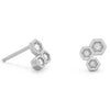 Honeycomb CZ Sterling Silver Stud Earrings-Earrings-Here Comes The Bling™