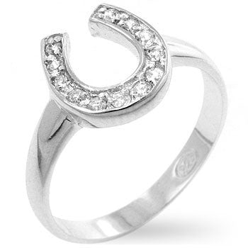 Horseshoe Cubic Zirconia Ring-Rings-Here Comes The Bling™