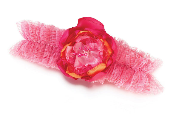 Hot Pink/Orange Tulle Garter-Garters-Here Comes The Bling™