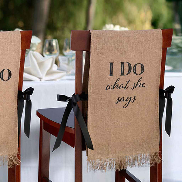 """I Do"" Burlap Chair Covers-Decor-Chairs-Here Comes The Bling™"