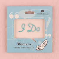 """I Do"" Shoe Talk In Blue Pearls And Crystals-Shoe Accessories-Here Comes The Bling™"
