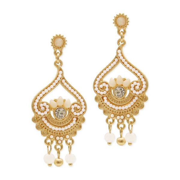Inlaid Ivory Beads with Matte Gold Fashion Earrings-Earrings-Here Comes The Bling™