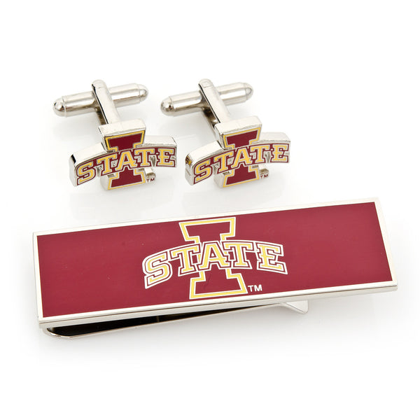 Iowa State Cyclones Cufflink and Money Clip Gift Set-Mens 3 Piece Gift Set-Here Comes The Bling™