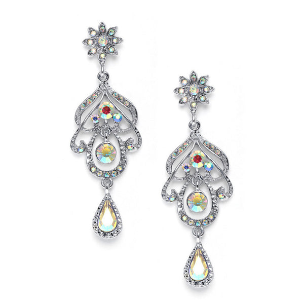 Iridescent AB Crystal Chandelier Earrings-Earrings-Here Comes The Bling™