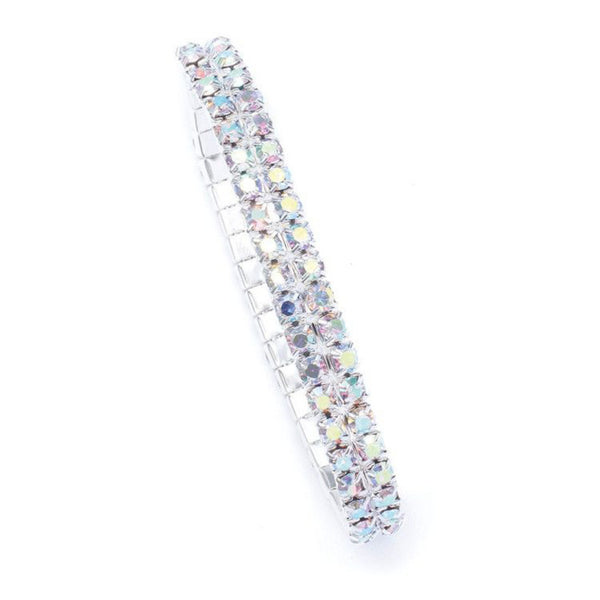 Iridescent AB Rhinestone Prom Stretch Bracelet-Bracelets-Here Comes The Bling™