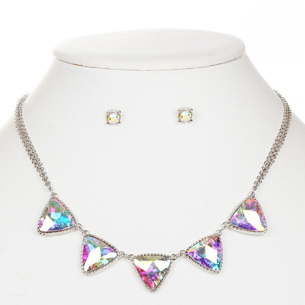Iridescent AB Triangles Gold Necklace and Earrings Set-Sets-Here Comes The Bling™