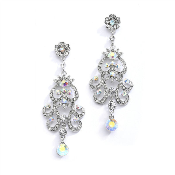Iridescent AB Vintage Chandelier Earrings for Prom, Homecoming or Weddings-Earrings-Here Comes The Bling™
