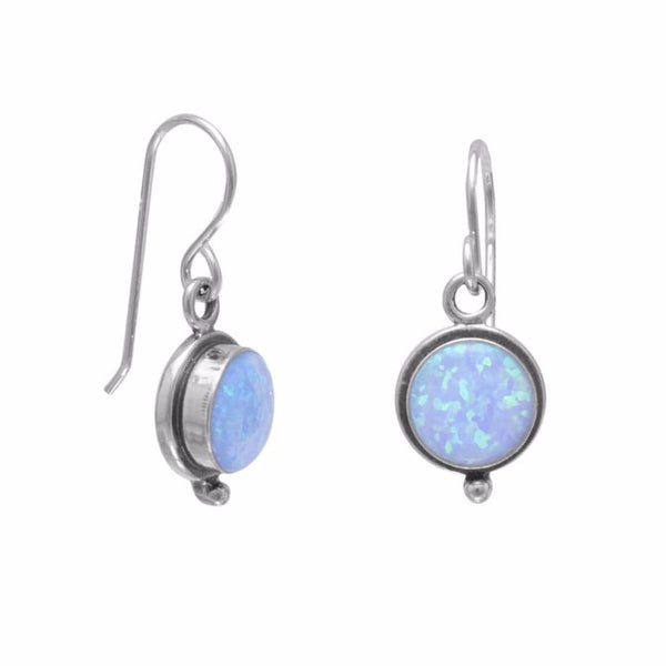 Iridescent Blue Opal Drop French Wire Earrings-Earrings-Here Comes The Bling™