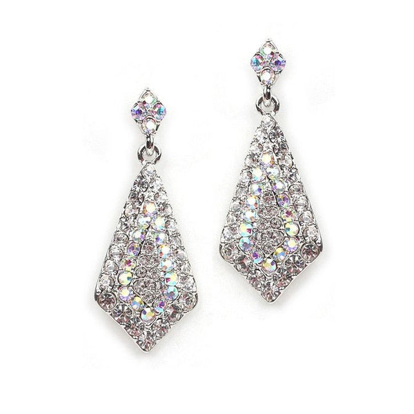 Iridescent Crystal Pave Kite-Shaped Dangle Earrings for Prom or Bridesmaids-Earrings-Here Comes The Bling™