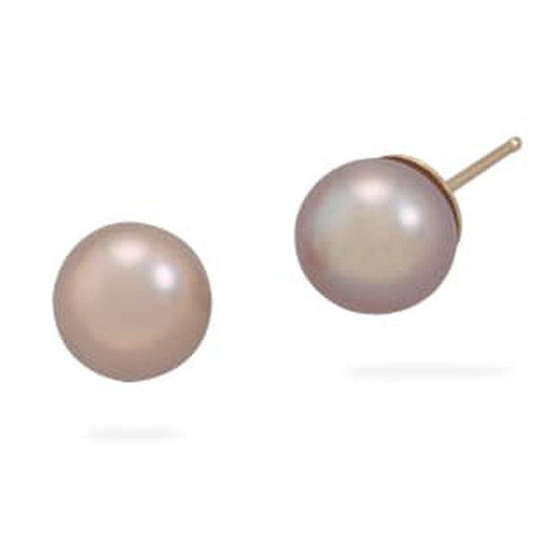 Iridescent Mauve Cultured Freshwater Pearl Stud Earrings with 14K Gold Posts-Earrings-Here Comes The Bling™