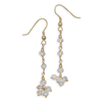 Iridescent Moonstone Drop Gold Earrings-Earrings-Here Comes The Bling™