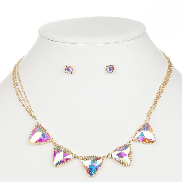 Iridescent Triangles Necklace Set for Prom or Bridesmaids-Sets-Here Comes The Bling™