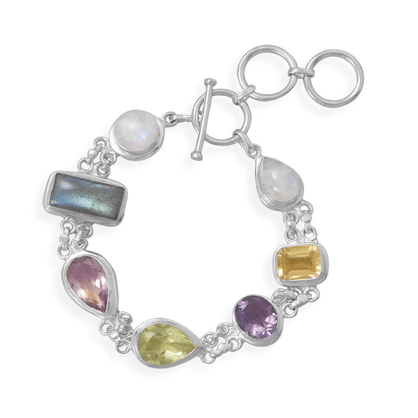 Iridescent Twilight Multi-Gemstone Toggle Bracelet-Bracelets-Here Comes The Bling™