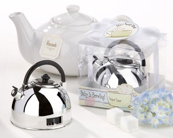 """It's About Time - Baby is Brewing"" (Baby Shower) Teapot Timer-Favors-Kitchen Tools-Here Comes The Bling™"