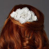 Ivory Crystal Lace Bridal Comb with Delicate Crepe Petals-Combs-Here Comes The Bling™