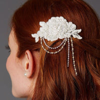 Ivory English Rose Lace Comb with Pearl and Crystal Draped Swags-Combs-Here Comes The Bling™