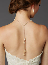 Ivory Glass Pearl Bridal Back-Necklace-Back Necklace-Here Comes The Bling™