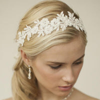 Ivory Lace Applique Garden Wedding Headband with Meticulous Edging-Headband-Here Comes The Bling™