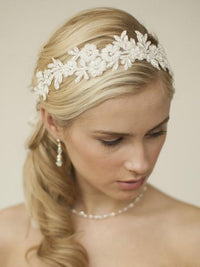Ivory Lace Applique Garden Wedding Headband with Meticulous Edging