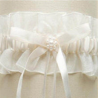 Ivory Organza Wedding Garter with Satin Ribbon & Pearls-Garters-Here Comes The Bling™