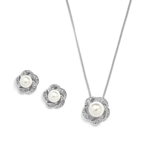 Ivory Pearl & Cubic Zirconia Bridal or Bridesmaid Necklace & Earrings Set-Sets-Here Comes The Bling™