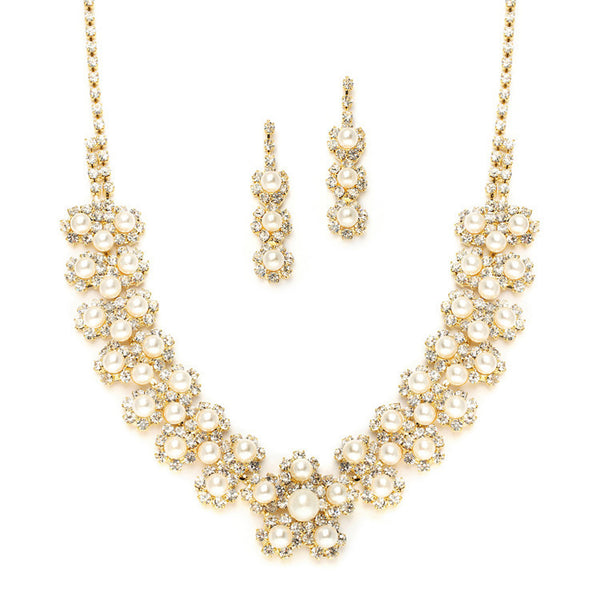Ivory Pearl & Gold Rhinestone Necklace Set with Daisies-Sets-Here Comes The Bling™
