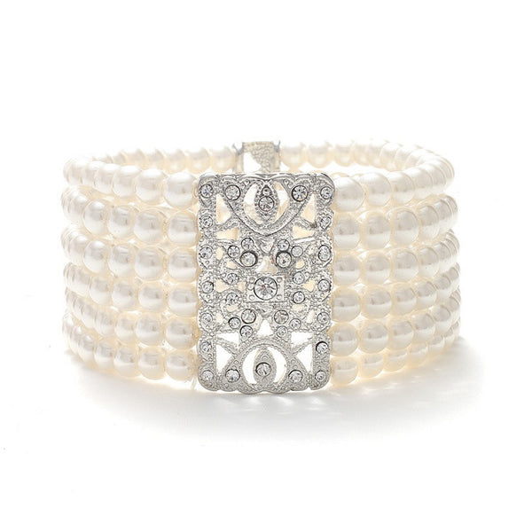 Ivory Pearl Vintage Stretch Bracelet-Bracelets-Here Comes The Bling™